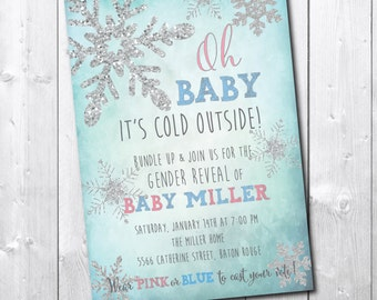Winter Gender Reveal Invitation/DIGITAL FILE/printable/wording can be added or changed/little snowflake silver glitter party baby he or she