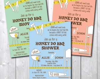 Honey Do BBQ Shower Invitation printable/Couples Honey Do Invitation/tool party, tool and gadget, handyman, lawn and garden, beer and grill