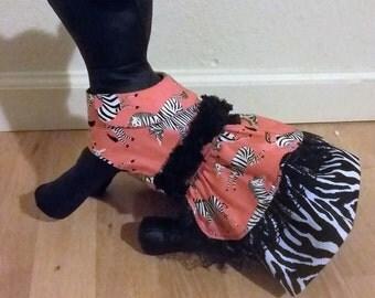 Dog dress, Zebra dog dress, cotton dog dress,