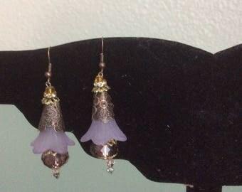 Earrings Dangle Lillac  flowers Handcrafte