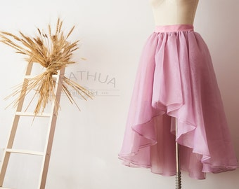 Mauve Women Organza Tulle Skirt Hi Low Asymmetrical Bridal Wedding Bridesmaid Skirt/Prom Party Skirt/Costume Skirt