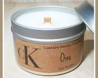 CALVIN KLEIN ONE (type) scent!   Wood Wick Soy Candle   Candle Tin   Hand Poured Eco Friendly Natural Candles   Scented Soy Candles   Vegan