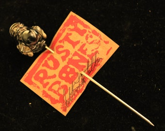 Pipe Poker Cleaner OOAK Rusty Bones Smoking Accessory Wire Wrap Skull and Bones Hat Pin Hair Pin Gift
