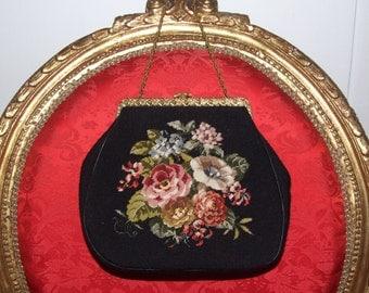 Vintage French c.1930s Petit Point Purse Bag / Antique Floral Petit Point Bag / Hand Embroidered Floral Bag / Evening Petit Point Purse Bag