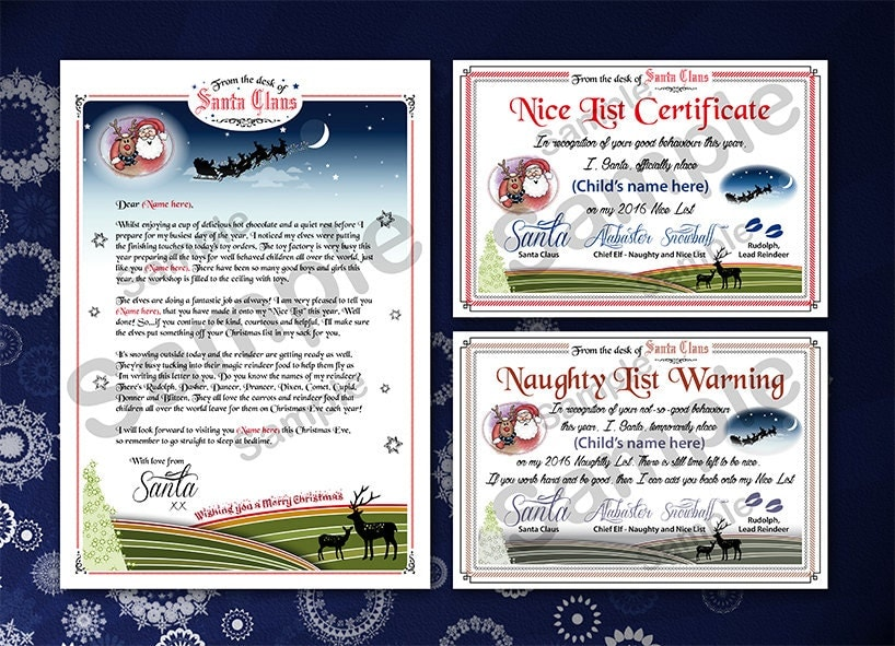 Letter from santa nice list certificate and naughty list warning letter from santa nice list certificate and naughty list warning print your own spiritdancerdesigns Gallery