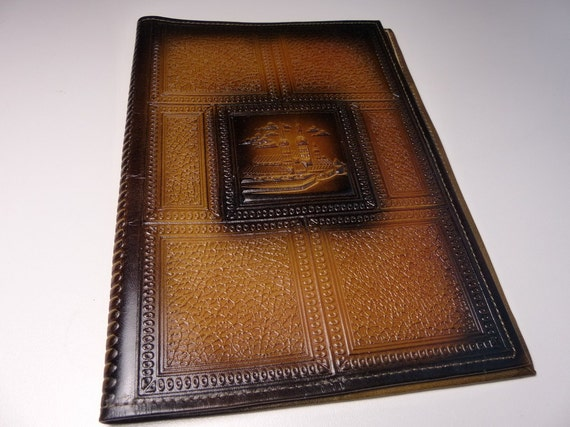 vintage leather book cover embossed notebook cover tooled