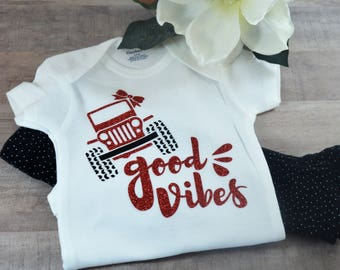 Good Vibes Jeep Baby One-Piece Baby Shower Birthday Coming Home Gift Idea Jeep Lovers Creeper Cute Sassy Bow Girl Bodysuit Outfit Funny