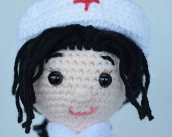 Crochet little nurse, Crochet doll, Nurse Toy, Student nurse graduation gift.