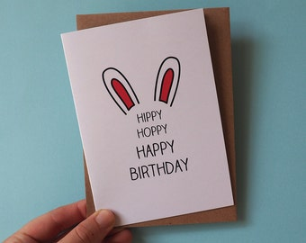 Hippy Hoppy Happy Birthday Bunny Rabbit Ears Greeting Card