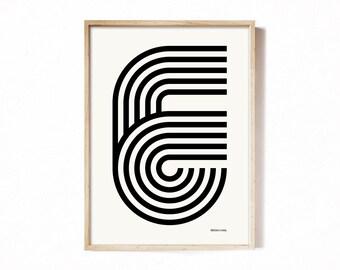 Letter E - modern typography alphabet print.