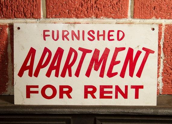 vintage apartment for rent sign metal1950s mid cantury atomic. Black Bedroom Furniture Sets. Home Design Ideas