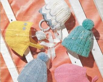 Bonnet Knit Pattern Hat Knitting Pattern Child Hat Pattern DK Pattern Vintage Hat Bobble Hat Pattern PDF Knitting Pattern Instant Download