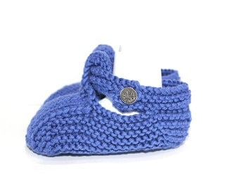 Blue Baby Booties, Baby Sandals, Baby Boy Shoes, New Baby Gift, Baby Shower Gift, Hand Knit Booties, Baby Shoes, T Bar Shoes, Cotton Booties