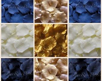 Navy Blue Gold Rose Petal Blend - Silk Rose Petals