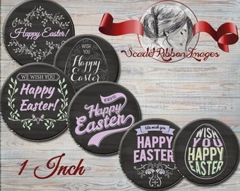 Easter Chalkboard bottle cap circles 1 inch round digital collage sheet with 2 JPEG files, one with heightened black background