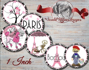 Paris is in the Air - A little bit of France -1 inch circle -bottle cap images- 15 digital images- gift tags -cupcake toppers party supplies