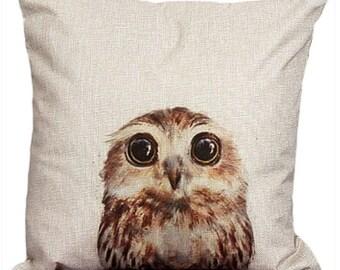 Cute Baby Owl Barn Owl Bird Cushion Cover