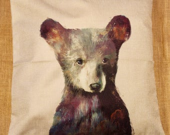 Baby Bear Cute Pillow Cushion Cover Linen Cotton Shabby Chic
