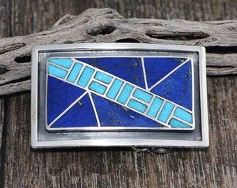 native american jewelry,belt buckle,turquoise,native american buckle,zuni,Native American,sterling, Zuni Sterling Silver & Inlay Belt Buckle