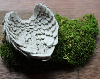 Concrete Angel Wings Jewelry Ring Holder Individually Cast from Handmade Mold
