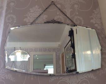 Vintage Bevelled Edge shaped Chrome Trim Mirror Art Deco