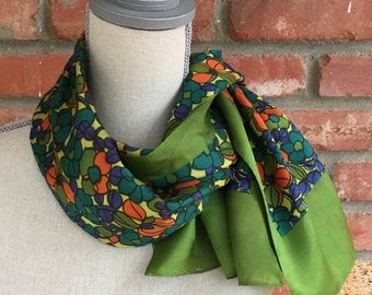 Vintage Scarf - olive green with flowers