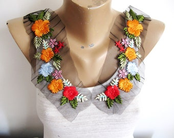 Bagno Flower Patch,Orange Flower Patch,Embroidery Flower Applique,Mirror Applique, Orange Floral Patch,Embroidered Collor Applique