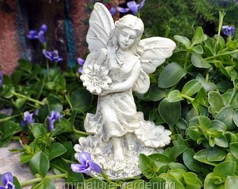 Angel in the Flowers for Miniature Garden, Fairy Garden