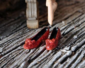 Tiny Ruby Slippers for Miniature Garden, Fairy Garden