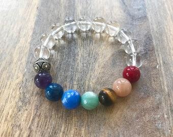 Chakra Mala Bracelet, Stretch Yoga Braceet, Chakra Bracelet, Wrist Mala, Mala Bead Bracelet