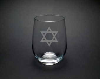 Star Of David Wine Glass - Hanukkah Wine Glass - Jewish Heritage Wine Glass - Hanukkah Hostess Gift - Festival of Lights Gift