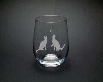 Playful Kitties Stemless Wine Glass - Cat Lover - Gift - Crazy Cat Lady - 17oz. Wine Glass -