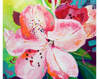 "Pink Rhododendron - Original colorful traditional acrylic painting on paper 8.5""x11"""