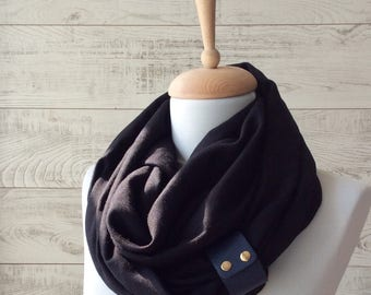 Mens scarf black scarf with leather cuff spring scarf mens summer scarf oversized scarf, men scarf women scarf spring scarf, mens  scarves