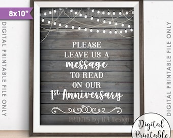 "Please Leave Us a Message to Read on Our First Anniversary Wedding Sign, 1st Anniversary, 8x10"" Rustic Wood Style Printable Instant Download"