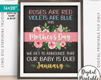 """Pregnancy Announcement Due in JANUARY Our Baby is Due Mother's Day Announcement, Chalkboard Style Printable 8x10/16x20"""" Instant Download"""