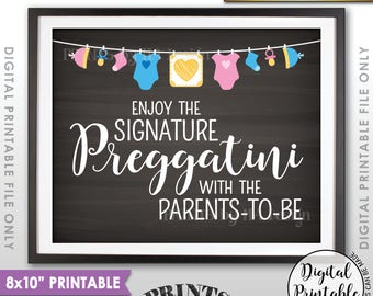 "Preggatini Sign, Signature Preggatini Bar Sign, Enjoy a Preggatini with the Parents-to-Be, 8x10"" Chalkboard Style Printable Instant Download"