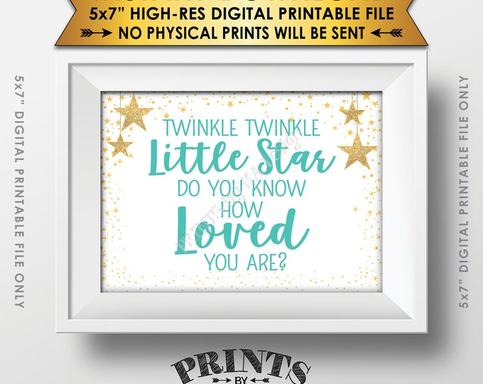 """Twinkle Twinkle Little Star Baby Shower Decor Green & Gold Glitter Do You Know How Loved You Are Baby Stars, Instant Download 5x7"""" Printable"""