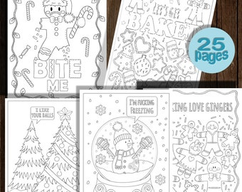 Festive As Fuck Christmas Coloring Book 25 Pages Instant Download