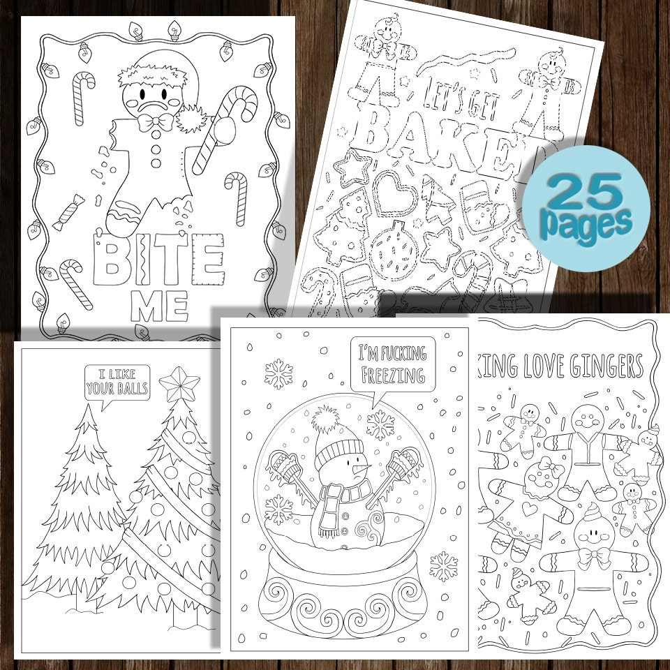 festive as christmas coloring book 25 pages instant