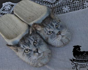 "Eco friendly handmade felted slippers ""Сat""  House shouse."
