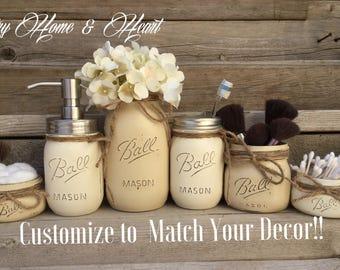Marvelous Farmhouse Bathroom Decor, Mason Jar Bathroom Sets, Mason Jar Decor, Farmhouse  Bathroom,