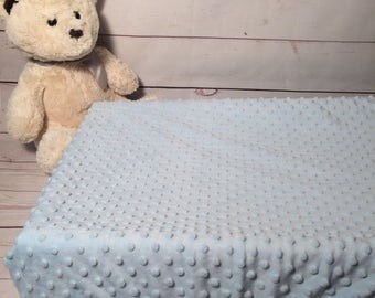 Soft minky Baby changing pad covers in blue and dots