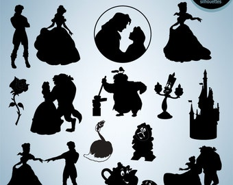 50% Off Sale - Beauty and the Beast silhouette clipart, Digital silhouette, EPS, PNG, SVG image, Scrapbook, Clipart,Vector, Instant Download