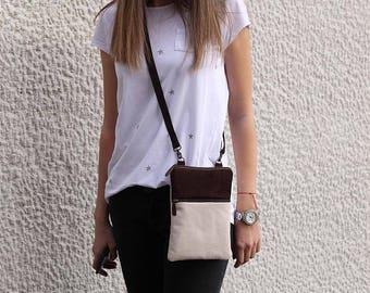 Cross body bag suede brown  , Canvas light beige , Travel bag , iPhone bag