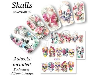 Sugar Skull Nails, Dia de los Muertos Nail Art, Day of the Dead Nail Stickers, Full Cover Nail Wraps, Water Nail Decals, Halloween BN189
