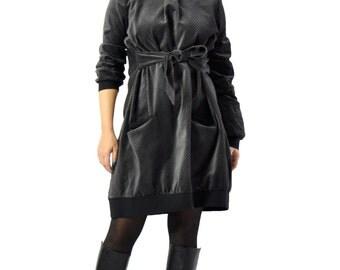 Dark GRAY VELVET Dress/Long sleeves velvet Casual Dress/Short Tunic dress/Party dress/Extravagant day velvet dress/Loose maxi  dress/D0241