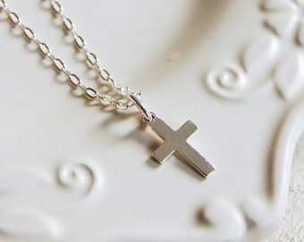 Sterling Silver Necklace With Small Silver Cross ~ Bridesmaid, Wedding, Anniversary, Birthday Gift