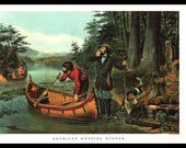 A Large Currier and Ives print American Hunting Scenes. The page is 18 3/4 inches wide and 14 inches tall.