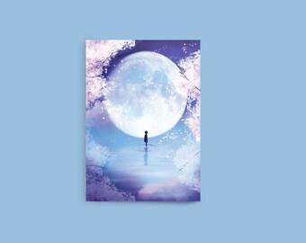"""Cherry Blossom Notebook, Moon Child, Anime Art Notebook, 4"""" x 6"""" Notebook, Blank Notebook, Pocket Notebook, Sketchbook, Pocket Sketchbook"""